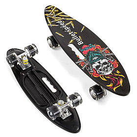 Скейт (PU колеса з підсвічуванням) Best Board A 51722 Чорний з малюнком