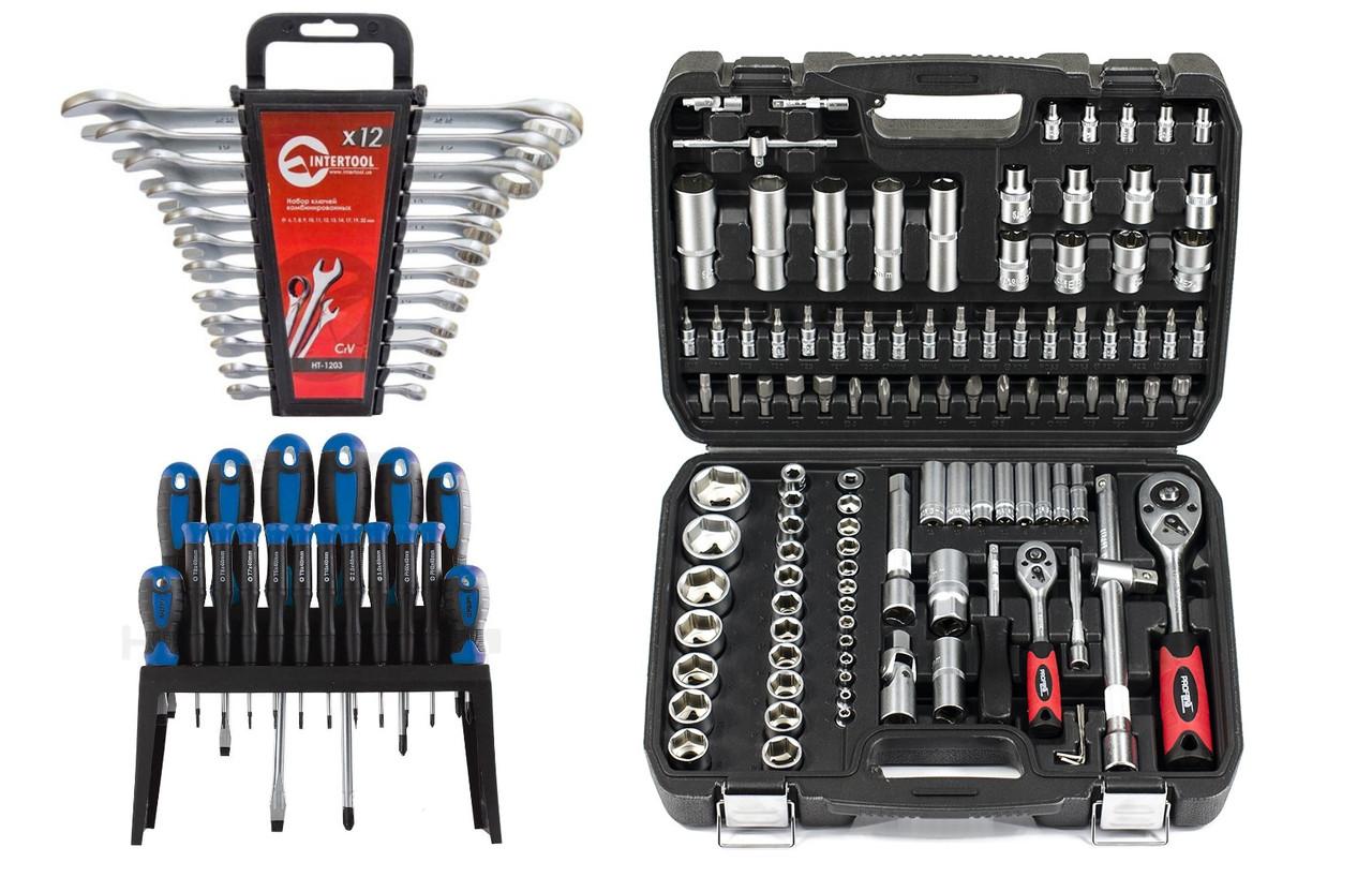 Miol / Набор инструментов 3в1 108 ед. PROFLINE 61085 + набор ключей 12 ед ht1203 + Набор отверток 18 шт 63118