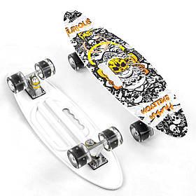 Скейт (PU колеса з підсвічуванням) Best Board A 71090 Білий з малюнком
