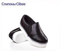 Слипоны мокасины туфли clibee р.28-34 черные мокасины для школы на девочку,школьная обувь, удобная обувь!