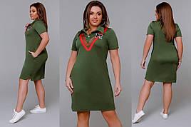 Стильное женское платье в спортивном стиле Ткань Кукурузка 48 размер