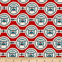 """Американский Хлопок Ткань для Пэчворка и Рукоделия """"Машинки на Красном"""" 22*55 см"""