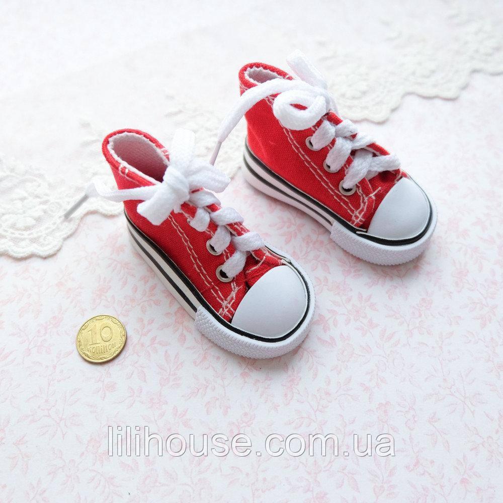 Обувь для Кукол Кеды на Шнуровке 7*3 см КРАСНЫЕ