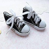 Обувь для Кукол Кеды на Шнуровке 7*3 см ЧЕРНЫЕ