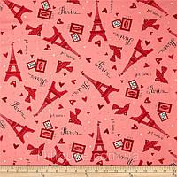 """Американский Хлопок Ткань для Пэчворка и Рукоделия """"Эйфелевая Башня на Розовом"""" 22*55 см"""