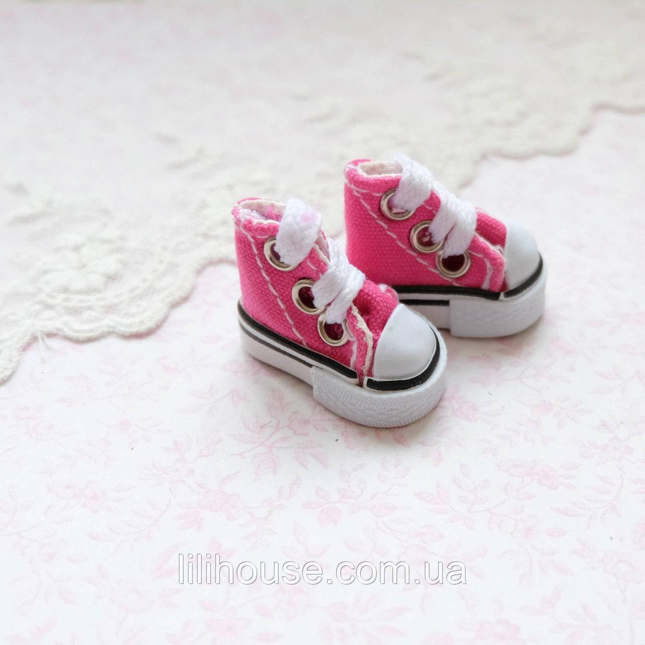 Взуття для ляльок Кеди Конверс Міні 3.5*2 см МАЛИНОВІ
