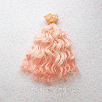 Волосы для Кукол Трессы Озорные Кудри  Омбре РОЗОВЫЕ 15 см