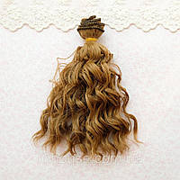 Волосы для Кукол Трессы Мокрые Кудри РУСЫЕ 15 см