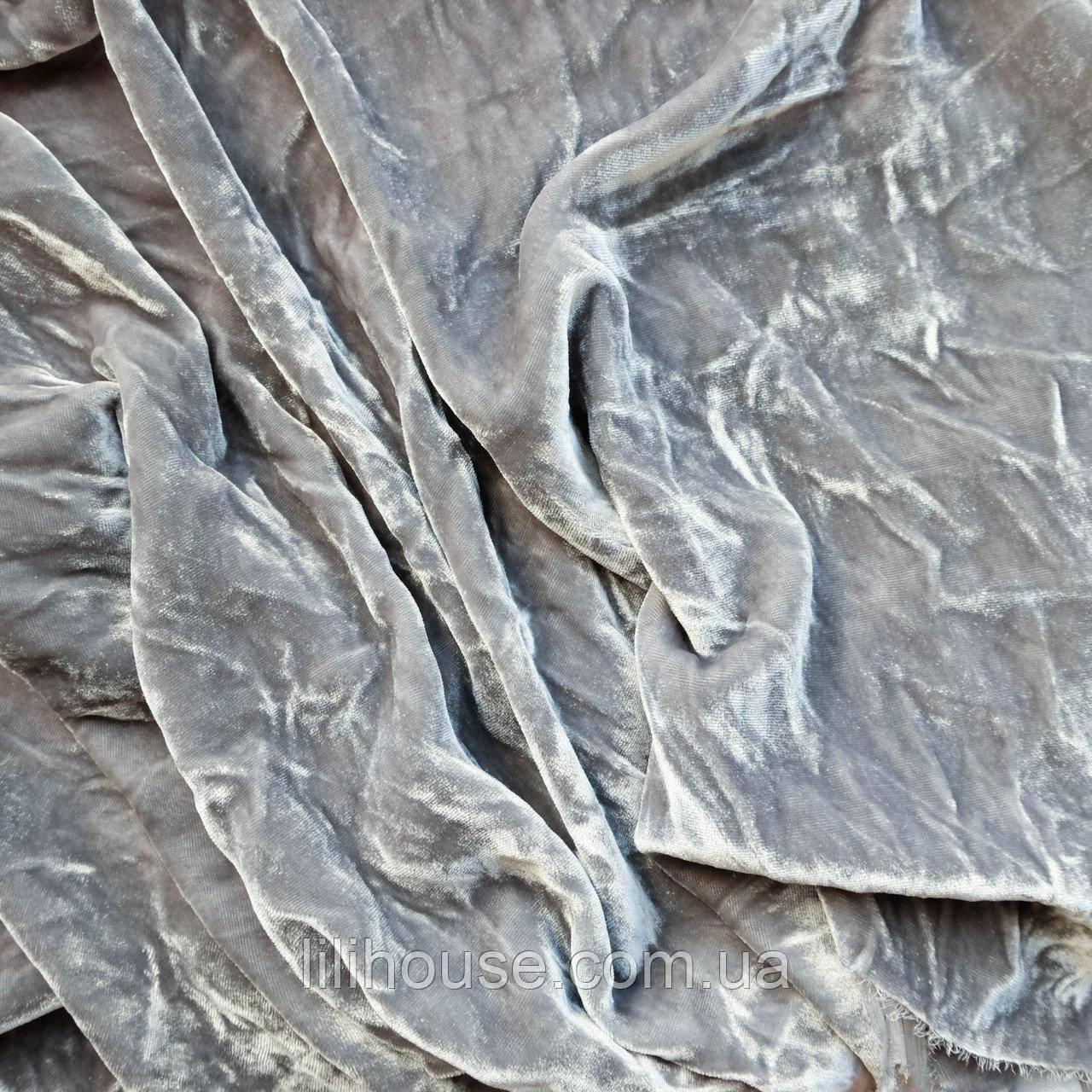 Бархат ШЕЛКОВЫЙ винтажный, основа для вышивки, светло серый - 25*35 см