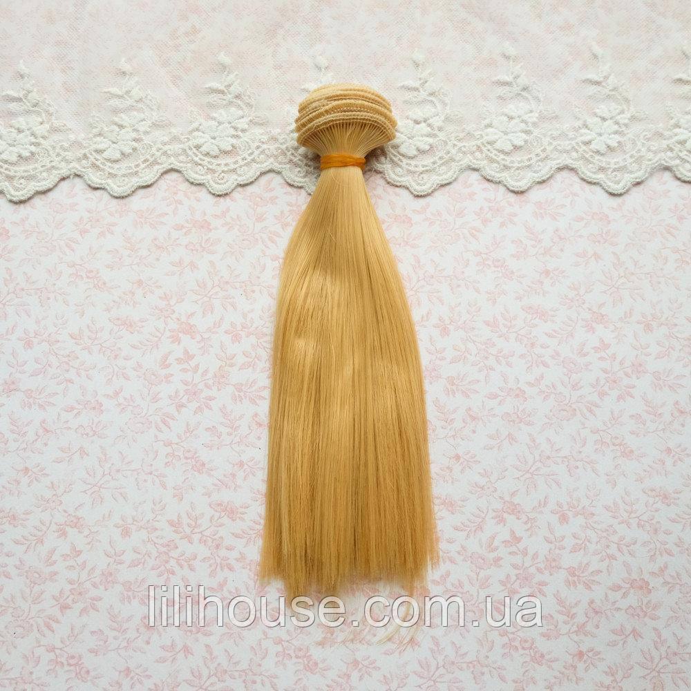 Волосы для Кукол Трессы Прямые ЗОЛОТОЙ БЛОНД 35 см