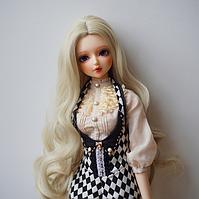 Парик для Куклы Локоны объем 22-24 длина волос около 35-38 см Холодный БЛОНД
