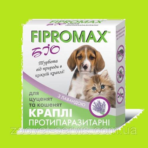 Биокапли от блох и клещей FIPROMAX  для котят и щенков упаковка 2 пипетки по 0.5 мл