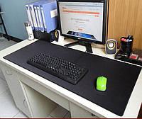 Чорний великий ігровий килимок для мишки і клавіатури однотонний чорний оверлог