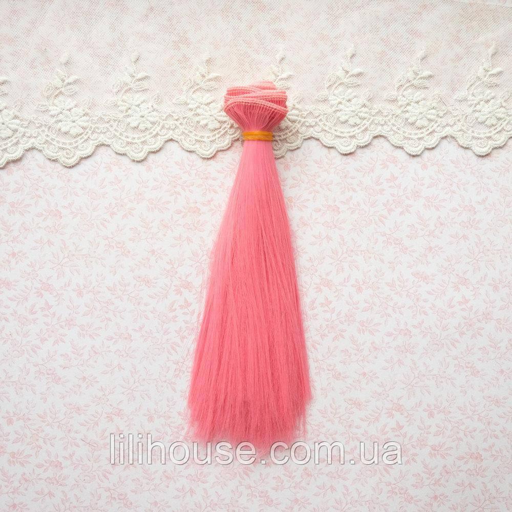 Волосы для Кукол Трессы Прямые ТЕМНО РОЗОВЫЙ 20 см