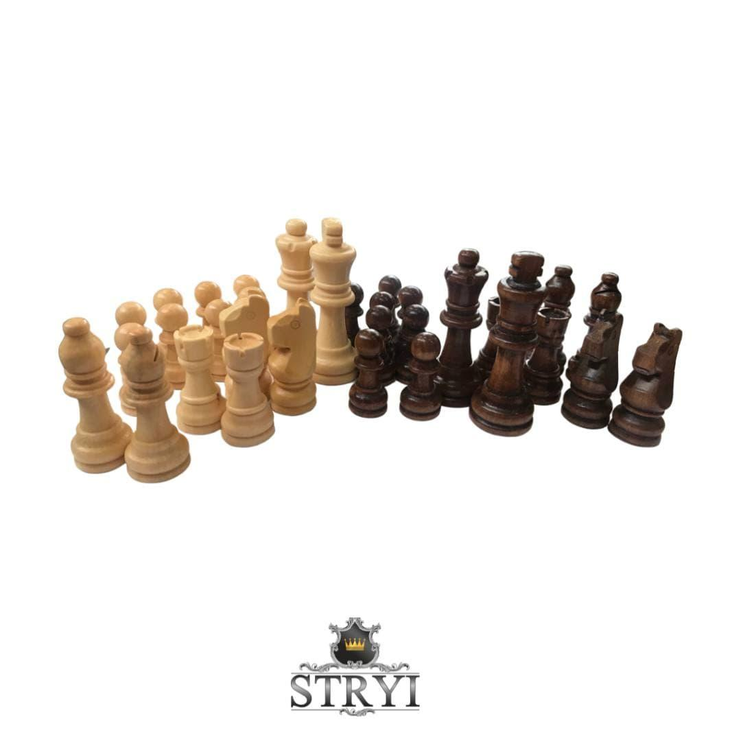 Комплект больших шахматных фигур STRYI из липы для доски 60-60см