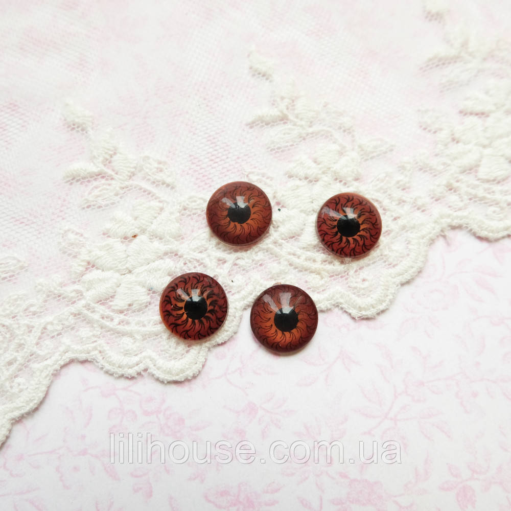 Глазки для Кукол Пластиковые Глазное Яблоко КОРИЧНЕВЫЕ ТЕМНЕЕ 10 мм