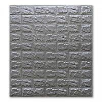 3D панель під срібно-сіру цеглу 700х770х7мм