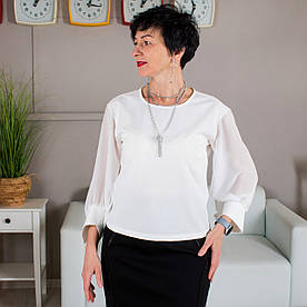 Женская Блуза с шифоновыми рукавами Сати молочная