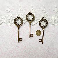 Подвеска Металлическая Ключ Цветы БРОНЗА 25*78 мм, фото 1