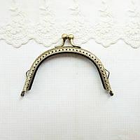 Фермуар (замок-рамка) для сумок та гаманців півовал 10 см, бронза