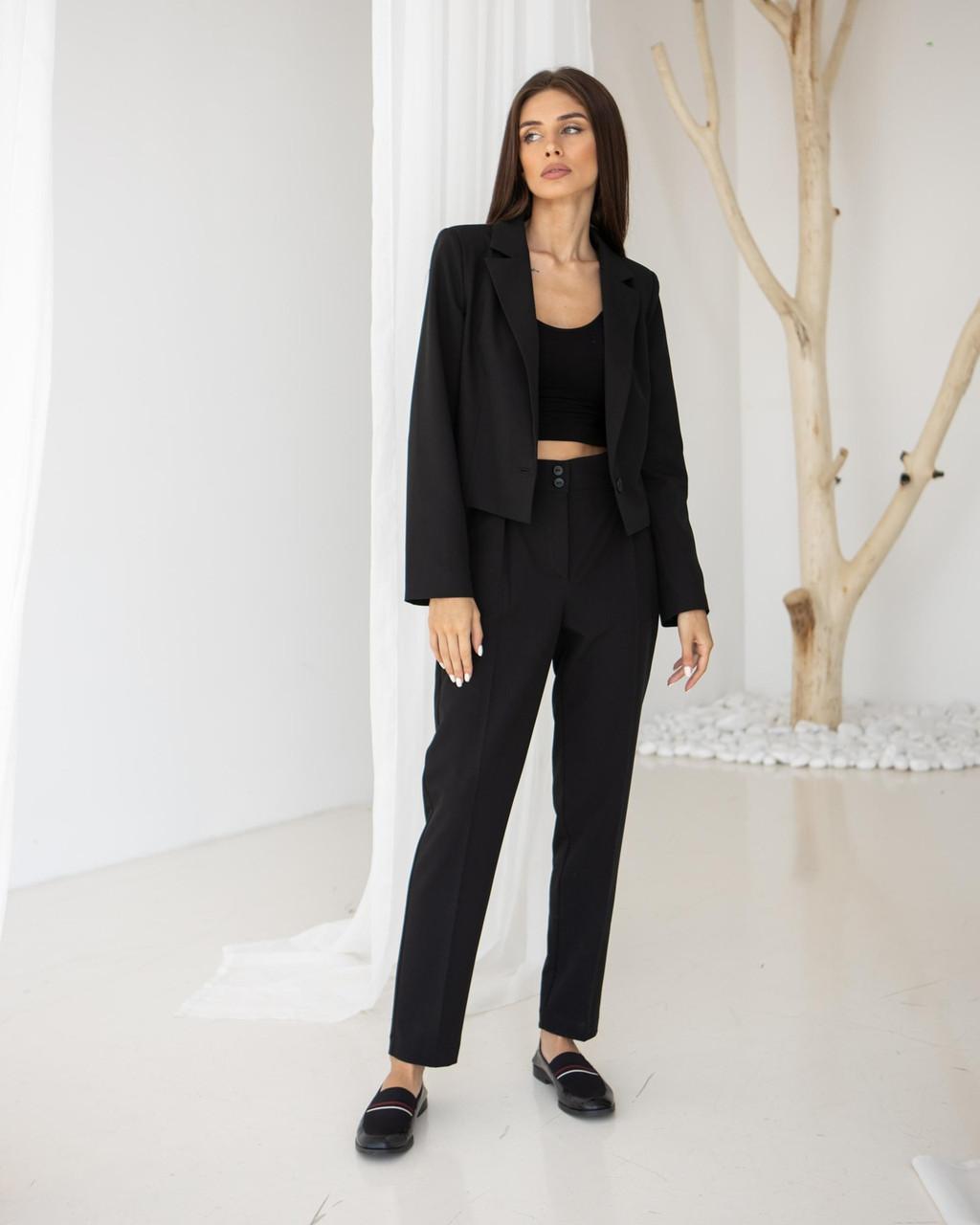 Жіночі брюки чорні базові класичні зі складкамиSIM  MKSM S-04