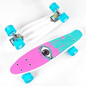 Скейт Пенні борд Best Board S 29707 (PU колеса зі світлом) Рожево-бірюзовий