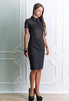 Черное платье до колена, короткий рукав,с кружевом