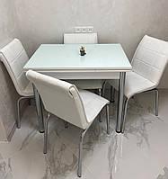 Раскладной белый стол прямоугольный обеденный кухонный из ДСП со стеклом 60*90/150см. (Лотос-М / Mobilgen), фото 1