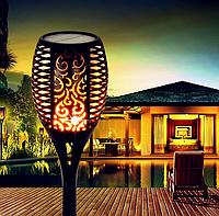 Фонарь садовый светильник на солнечной батарее Факел с эффектом пламени мерцающий огонь 12 LED 515 мм UKC
