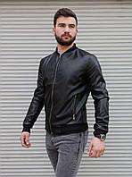 Куртка мужская бомбер черного цвета. Мужская демисезонная куртка бомбер чёрного цвета., фото 1