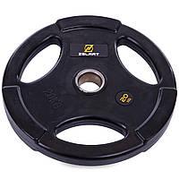 Млинці (диски) обгумовані Zelart TA-2673-20 51мм 20кг чорний