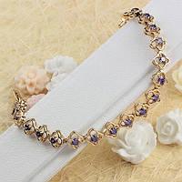 Женский браслет с фиолетовыми фианитами 005-0388