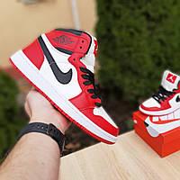Мужские кроссовки Nike Air Jordan 1 Retro (Белые с красным) O10335
