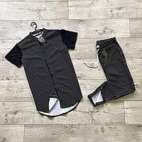 Чоловічий річний комплект сорочка з коротким рукавом в смужку і брюки в смужку Asos