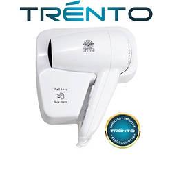 Настенный фен мощный Trento 1300W с держателем/белый