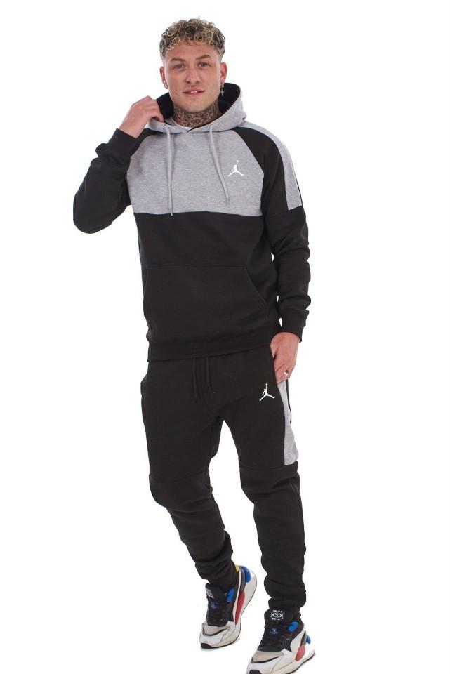 Спортивный костюм со вставками Jordan (Джордан) черно-серый