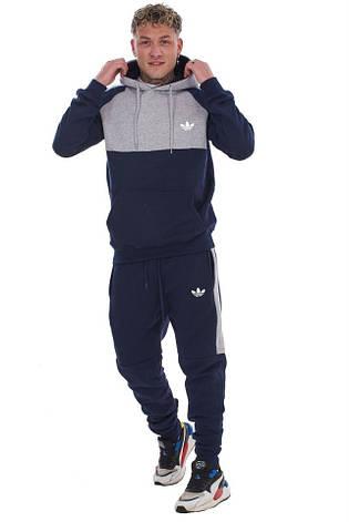 Спортивный костюм со вставками Adidas (Адидас) сине-серый, фото 2