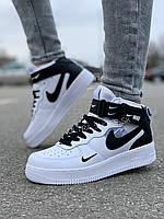 Женские высокие кроссовки на осень Nike Air Force белые, размеры 36-41