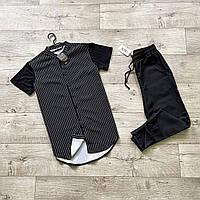 Чоловічий річний комплект сорочка з коротким рукавом в смужку і штани чорні Asos