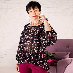 Женская Шифоновая Блуза Саманта черная