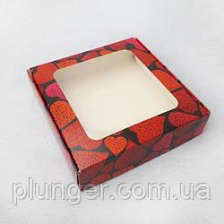 Коробка для печива, пряників з вікном, 15 см х 15 см х 3 см, мілований картон Серця