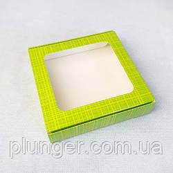 Коробка для печива, пряників з вікном, 15 см х 15 см х 3 см, мілований картон Салатова