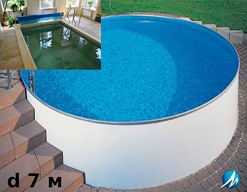 Копінговий камінь по периметру басейну з доріжкою шириною 0,75 м - комплект збірного басейну d 7 м