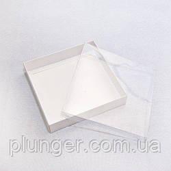 Коробка для печива, пряників з вікном, 15 см х 15 см х 3 см, мілований картон Біла з прозорою кришкою