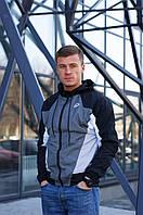 Модная мужская спортивная куртка ветровка с капюшоном, ветровка демисезонная Nike Heritage серая