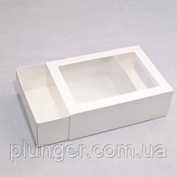 Коробка-пенал універсальна для цукерок, печива, зефіру, мілований картон Біла