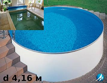 Копінговий камінь по периметру басейну з доріжкою шириною 0,75 м - комплект збірного басейну d 4,16 м