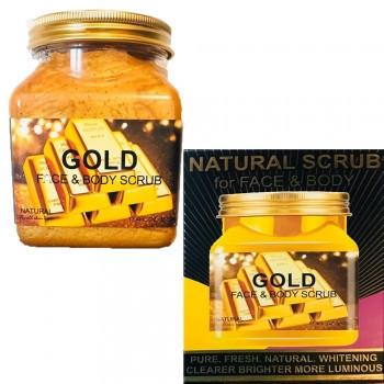 Натуральный скраб для тела и лица Wokali Gold face and body scrub с золотом, 500 ml