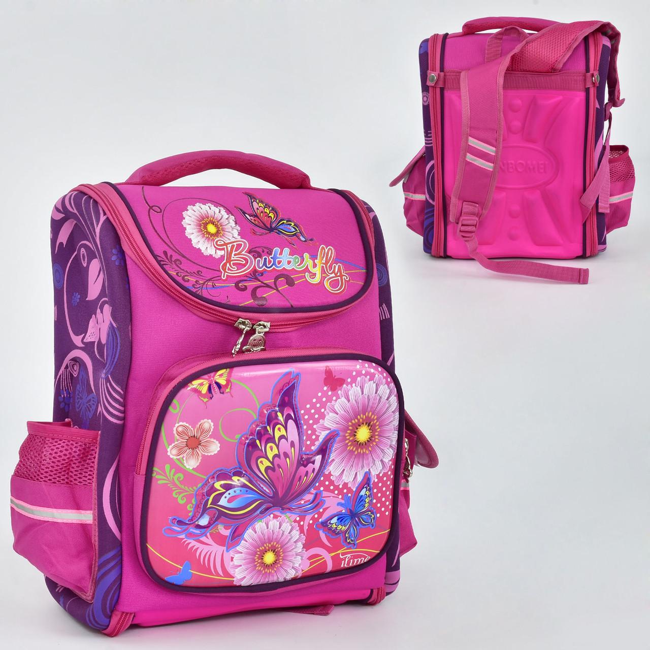 Дитячий Рюкзак шкільний для дівчинки N 00135 з 3 кишенями і ортопедичною спинкою