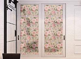 Матирующая виниловая наклейка для шкафа-купе на зеркало Розовые Розы цветы пескоструй ПВХ пленка на окно